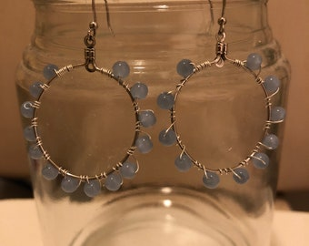 Bead wrapped hoop earrings