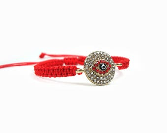 Handmade Greek Macrame White-Red Crystal Gold Plated Bronze Round Evil Eye Adjustable Bracelet, Evil Eye Bracelet, Evil Eye Charm