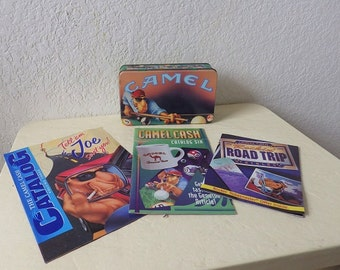 Joe Camel Collectibles, Tin with pack of matches and Joe Camel Catalogs
