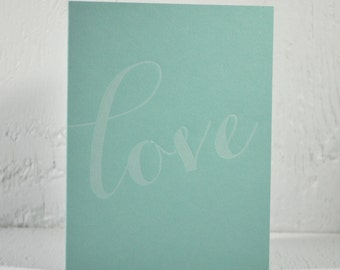 Letterpress Valentine - love - white ink on pool - valentines, wedding, anniversary - free US shipping