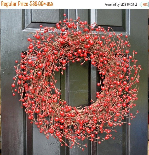 SPRING WREATH SALE Red Berry Wreath- Berry Door Wreath- Year Round Wreath- Christmas Wreath- Winter Wreath- Fall Wreath- Red Christmas Decor