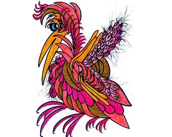 WHIMSICAL Colorful Bird Painting, Bird Lover Gift, Bird Decor, Bird Wall Decor, Bird Artist, Cartoon Bird, ArtKunzelman, Wall Art Bird