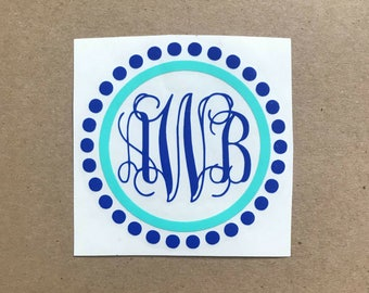 Two Color Vine Dot Monogram Decal | Monogram Decal | Vine Monogram | Two Color Monogram | Laptop Decal | Car Decal | Personalized Decal