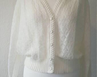 1970s cardigan by Dala•vintage cardigan•1970s fashion•cream cardiagn•UK 8/10/12•US 6/8/10