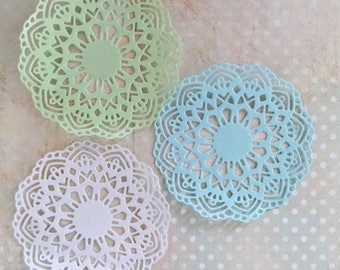 Set of 12 lace paper doilies, Tea party doilies, Wedding doilies, Baby showers, Scrapbooks, Party decor doily