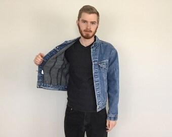 80s Levi's Trucker Blanket Lined Denim Jacket size SMALL ~ 5926