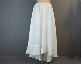 Vintage Edwardian Petticoat Slip with Lace Trim, Longer back, 26 to 30 inch waist, 1900s Edwardian Whites