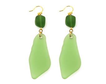 Green Statement Earrings, Green Earrings, Sea Glass Earrings, Sea Glass Jewelry, Green Drop Earrings, Drop Earrings, Green Statement Jewelry