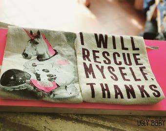 Kitchen Towel: I Will Rescue Myself, Thanks | Feminist Kitchen | Kitchen Tea Towels | Feminist Kitchen Towel
