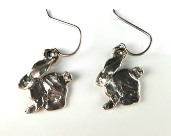 Sculpted Silver Bunny Rabbit Dangle Earrings, Vintage