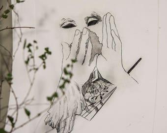 "Intaglio, ""Dusty"", original fine art etching print, printmaking, aquatint, theatre, applause, fine art"