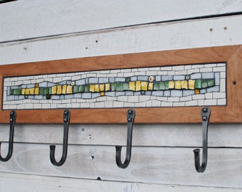 Mosaic Coat Rack, Wall Coat Rack, Entryway Coat Hooks, Coat Hooks, Hand Forged Hooks, Mudroom Hooks, Reclaimed Wood