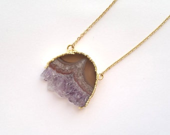 Gold Dipped Amethyst Slice Necklace Rough Raw Crystal Pendant Amethyst Rough Raw Purple Stone Crystal Cluster Amethyst Jewelry Boho Pendant
