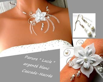 wedding set feather Lucie silk flower green lime Silver White Pearl Bridal
