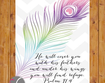 He Will Cover You With His Feathers And Under His Wings You Will Find Refuge Psalm 91:4 Inspirational Quote Wall Decor 8x10