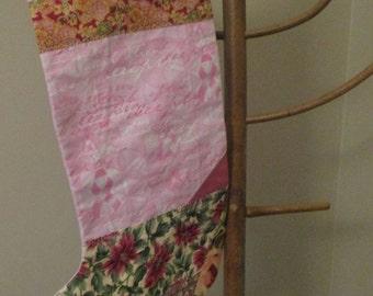 Santa stocking, Pink Ribbon, Breast Cancer stocking, Christmas Stocking, Womens stocking, Pink Ribbon stocking, Breast Cancer awareness,