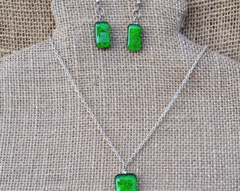 Bright Green Color Changing Dichroic Glass Necklace & Earrings Set