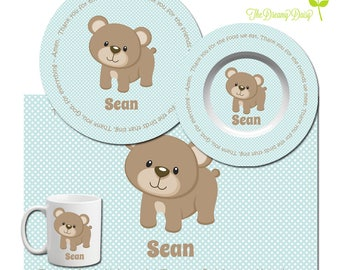 Personalized Bear Plate Set for Boys - Prayer Plate, Bowl, Mug or Placemat - Baby Bear Dinnerware - Custom Kids' Tableware - BPA Free