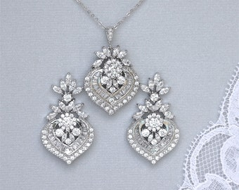 Crystal Jewelry Set, Crystal Bridal Set, Crystal Necklace & Earrings Set, Wedding Jewelry, TAYLOR 1
