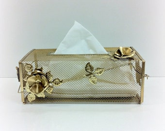 Hollywood Regency Gold Tissue Cover