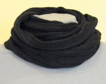 Striped Infinity Scarf Cowl Wrap Black