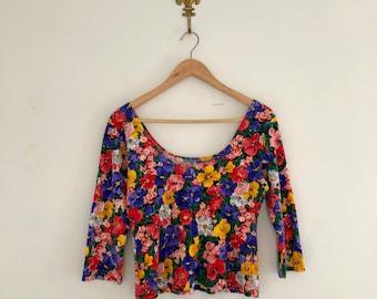 Vintage 80's Bright Floral Crop Top M
