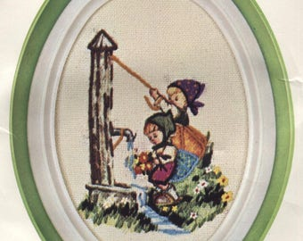 Little Sweethearts Waterpump - Crewel Embroidery Kit with Frame