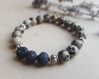 Essential Oil Diffuser Bracelet, Aromatherapy Jewelry, Dalmatian Jasper Bracelet, Lava Stone Bracelet, Diffuser Jewelry, Essential Oil Gift