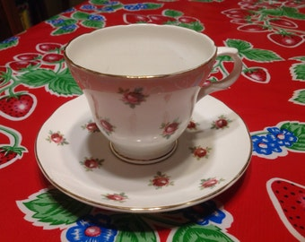 Vintage Crown Trent Fine Bone  China tea cup and saucer with floral designs- England