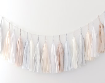 Paper Tassel Garland Banner - Neutral Party Decor / Wedding decor / nursery decor / birthday decorations /fully assembled/ nursery / tassels