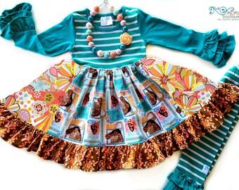 Disney Moana Hawaiian Princess dress girls toddler boutique style birthday Disney World Momi boutique custom dress