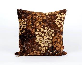 Brown Velvet Pillow Cover - 20x20, designer pillow, upholstery fabric, vintage fabric, mid century home decor, handmade by EllaOsix