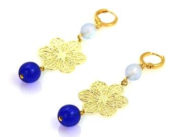 NEW Statement Earrings, Blue Earrings, Long Earrings, Flower Earrings, Blue Statement Earrings, Statement Jewelry, Floral Jewelry, Ice Blue