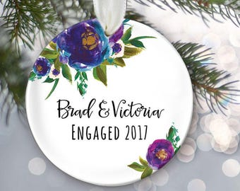 Floral Engaged Ornament Personalized Christmas Ornament Engagement Ornament Peacock colored purple & blue Ornament Bridal Shower Gift OR798