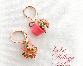KITSCHY FLOWER POT Earrings, Whimsical Earrings, Pink Earrings