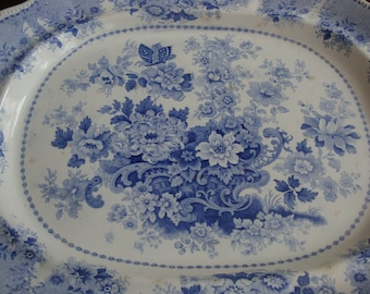 MAGNIFICENT Antique Clews Staffordshire Extra Large 20 x 16-1/2 inch Light Blue and White Transferware Platter! (Free Shipping)!