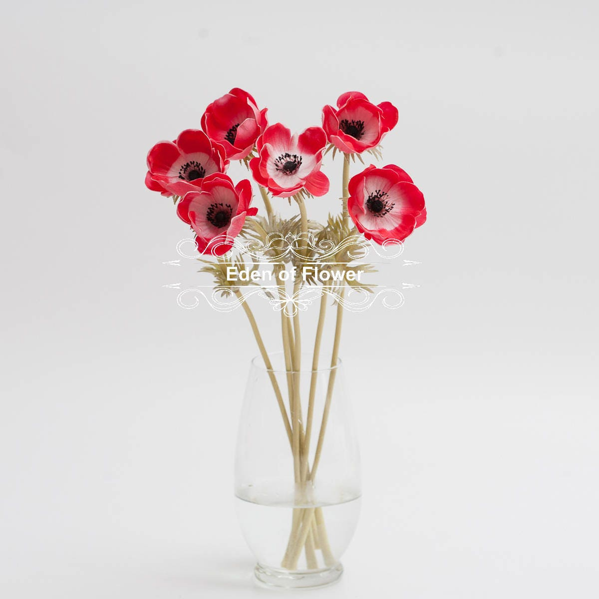 Red Anemones Poppy Real Touch Flowers Black Purple Center for ...