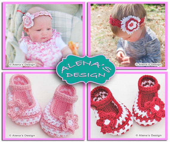 Crochet Pattern Set - Crochet Baby Shoes Pattern - Crochet Slipper Pattern - Headband Pattern - Flower Clip - Baby Girl - Mary Jane Shoes