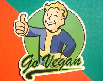 Vault Boy Go Vegan Vinyl Sticker