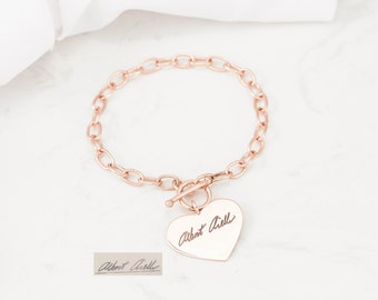 Handwriting Jewelry • Heart Charm Bracelet • Signature Jewelry • Chain Link Toggle Bracelet • Personalized Gift • MOTHER'S GIFT BM21