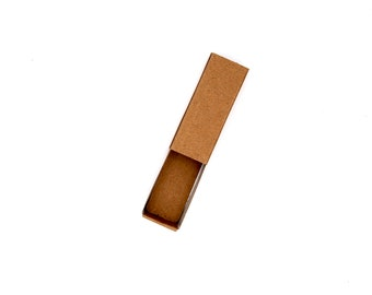 """Small Brown Kraft Rectangle Favor Box 73mm x 29mm x 22mm (2 7/8"""" long by 1 1/8"""" wide by 7/8"""" deep) Push Open/Close (Quantity Discounts)"""