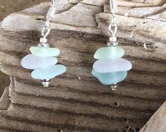 Pastel sea glass earrings