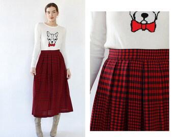 Wool Pleated Skirt M/L • Vintage Pleated Skirt • Box Pleated Skirt • Red Wool Skirt • Liz Claiborne Skirt • Vintage Wool Skirt | SK1095