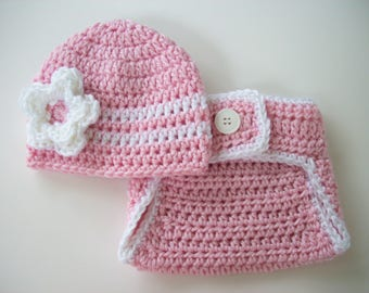 Newborn Baby Girl Outfit, Newborn Girl Coming Home Outfit, Newborn Photo Outfit, Crochet Baby Outfit, Baby Gift for Girl, Crochet Baby Hat