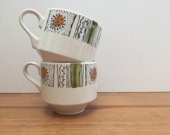 Vintage 1960s Kathie Winkle 2 Teacups in Capri Broadhurst Ironstone