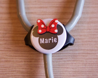 Minnie Mouse Personalized Stethoscope ID Tag- Disney ID Holder-Littman Cardiology Stethoscope ID-Fits All stethoscopes at the  Yoke Area