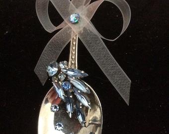 """Spoon Ornament """"Blue Sparkle"""""""