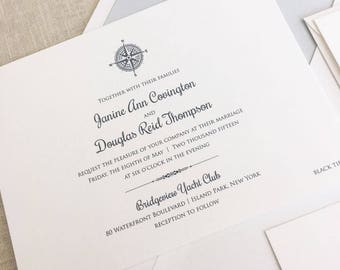 Compass Rose Wedding Invitations, Printed Nautical Compass Wedding Invitation, Compass Invitations, Travel Themed