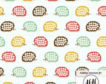 Hedgehog Fabric By The Yard - Cute Bright Hedgehogs with White Flowers Print in Yards & Fat Quarter