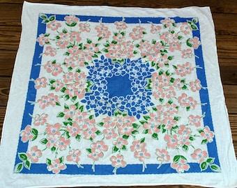 Vintage Pink Dogwood Cotton Tablecloth
